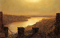 Roundhay lake, From Castle, 1893, grimshaw