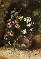 Still Life of Birds Nest with Primulas and Blossom, 1869, grimshaw