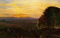 Sunset from Chilworth Common, Hampshire, grimshaw