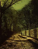 Tree Shadows on the Park Wall, Roundhay Park, Leeds, grimshaw