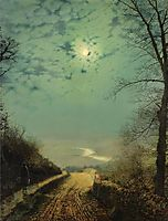 A Wet Road By Moonlight, Wharfedale, grimshaw