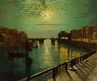 Whitby Harbor by Moonlight, grimshaw