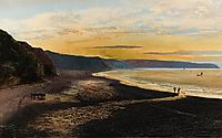Whitby Sands, sunset, grimshaw