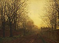 Wimbledon Park, Autumn After Glow, 1866, grimshaw