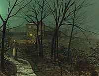 Woman on a path by a cottage, grimshaw