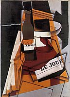 Bottle, Newspaper and Fruit Bowl, 1915, gris