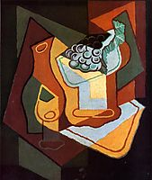 Bottle, Wine Glass and Fruit Bowl, gris