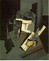 Fruit dish, glass and lemon (Still life with nerwspape), gris
