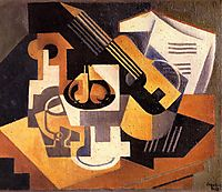 Guitar and Fruit Bowl on a Table, 1918, gris