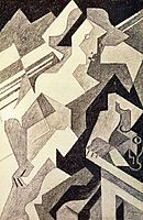 Harlequin at Table, 1918, gris