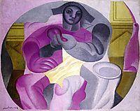 Seated Harlequin, 1923, gris
