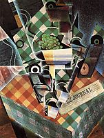 Still Life with checkered tablecloth, 1915, gris