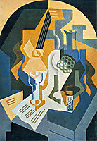 Still life with fruit basket and mandolin, 1919, gris