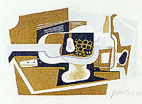 Still Life with Guitar and Bottle, 1919-1922, gris