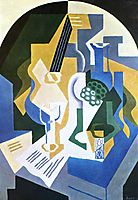 Still life with fruit bowl and mandolin, 1919, gris
