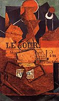 Tobacco, Newspaper and Bottle of Wine, 1914, gris