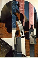 Violin and ink bottle on a table, 1913, gris