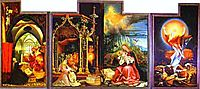 The Annunciation; Virgin and Child with Angels; The Resurrection (Second view with the open wings), c.1515, grunewald