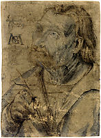 John the Apostle (Half Length Portrait of a Man with a Pinfeather Looking Up), c.1516, grunewald