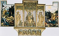 The second view of the altar. St Anthony Visiting St Paul the Hermit in the Desert (left), The Temptation of St. Anthony (right). Central part are carved figures of St. August, St. Anthony, St. Jerome; bottom part Jesus with 12 Apostles., 1515, grunewald