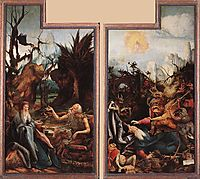 Visit of St. Anthony to St. Paul and Temptation of St. Anthony, c.1515, grunewald