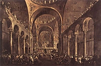 Doge Alvise IV Mocenigo Appears to the People in St. Mark-s Basilica, 1777, guardi