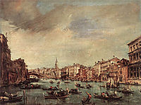The Grand Canal, Looking toward the Rialto Bridge, 1765, guardi
