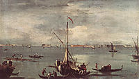 The Lagoon with Boats, Gondolas, and Rafts, 1758, guardi