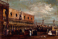 Venice, a View of the Piazzetta Looking South with the Palazzo Ducale, guardi