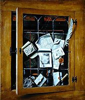A trompe l-oeil of an open glazed cupboard door, with numerous papers and objects, 1666, gysbrechts