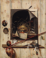 Trompe l-oeil with Studio Wall and Vanitas Still Life, 1668, gysbrechts