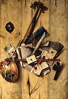 Trompe l-oeil with violin, painter-s implements and self-portrait, 1675, gysbrechts