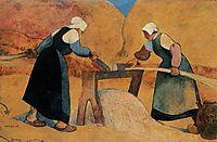 Breton women scutching flax: Labour, 1889, haan