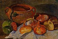 Still Life: Pit, Onions, Bread and Green Apples, haan