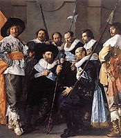 The company of Captain Reinier Reael and Lieutenant Cornelis Michielsz. Blaeuw, known as the 'Meagre Company' (detail), 1637, hals