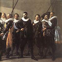 The company of Captain Reinier Reael and Lieutenant Cornelis Michielsz. Blaeuw, known as the 'Meagre Company' (detail), 1637, hals