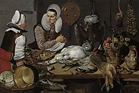 A Kitchen Interior with a Maid and a Lady Preparing Game, 1630, hals