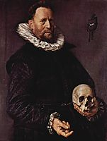 Portrait of a Man Holding a Skull , 1612, hals