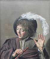 Singing Boy with a Flute, 1623, hals