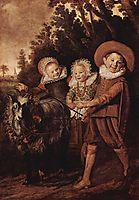 Three childeren with a goat cart, hals