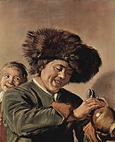Two laughing boys with a beer mug, c.1627, hals