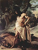Samson Slays the Lion, hayez