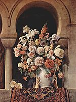 Vase of Flowers on the Window of a Harem , hayez