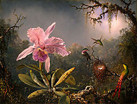 Cattleya Orchid and Three Hummingbirds, 1871, heade