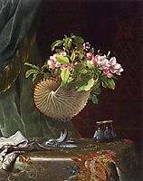 Still Life with Apple Blossoms in a Nautilus Shell, 1870, heade