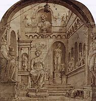 Sculpture Court of the Casa Sassi in Rome, c.1535, heemskerck