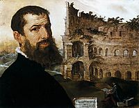 Self-Portrait of the Painter with the Colosseum in the Background, 1553, heemskerck
