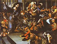 Christ Driving Merchants from the Temple, 1556, hemessen