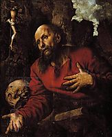 St. Jerome praying before a rocky grotto, 1548, hemessen