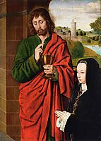 Anne of France, Lady of Beaujeu, Duchess of Bourbon, presented by St. John the Evangelist, right hand wing of a triptych, 1492, hey